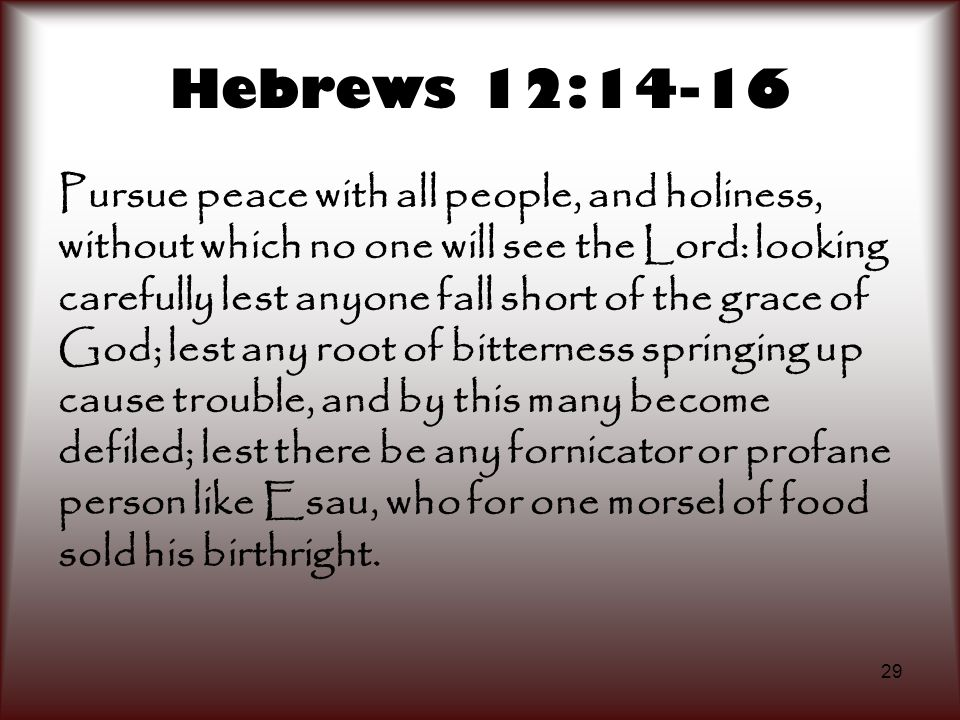 29 Hebrews 12:14-16 Pursue peace with all people, and holiness, without which no one will see the Lord: looking carefully lest anyone fall short of th