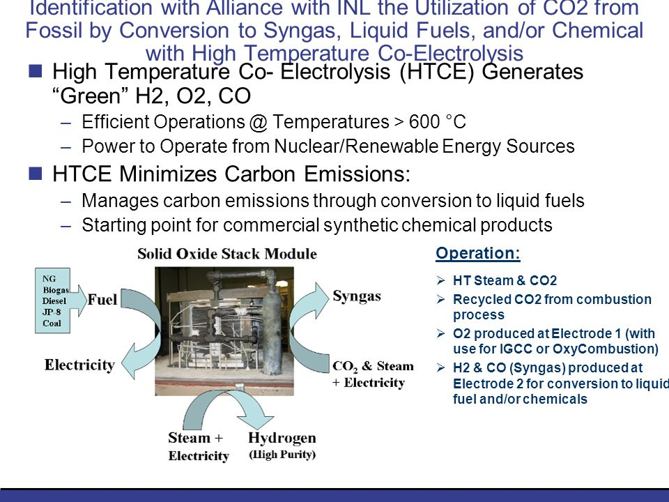 Identification with Alliance with INL the Utilization of CO2 from Fossil by Conversion to Syngas, Liquid Fuels, and/or Chemical with High Temperature