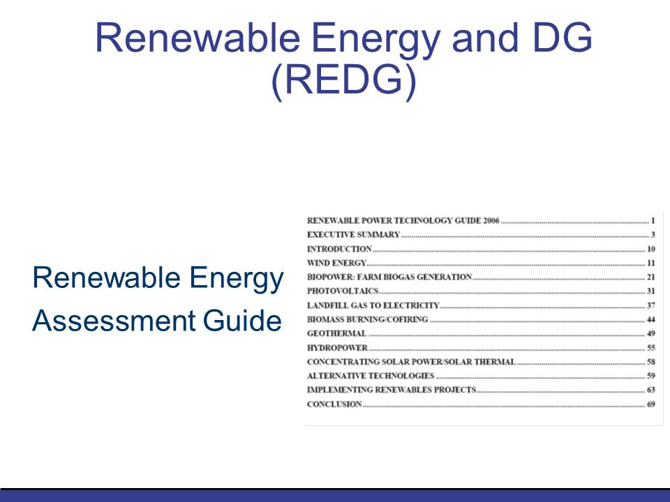 Renewable Energy and DG (REDG) Renewable Energy Assessment Guide