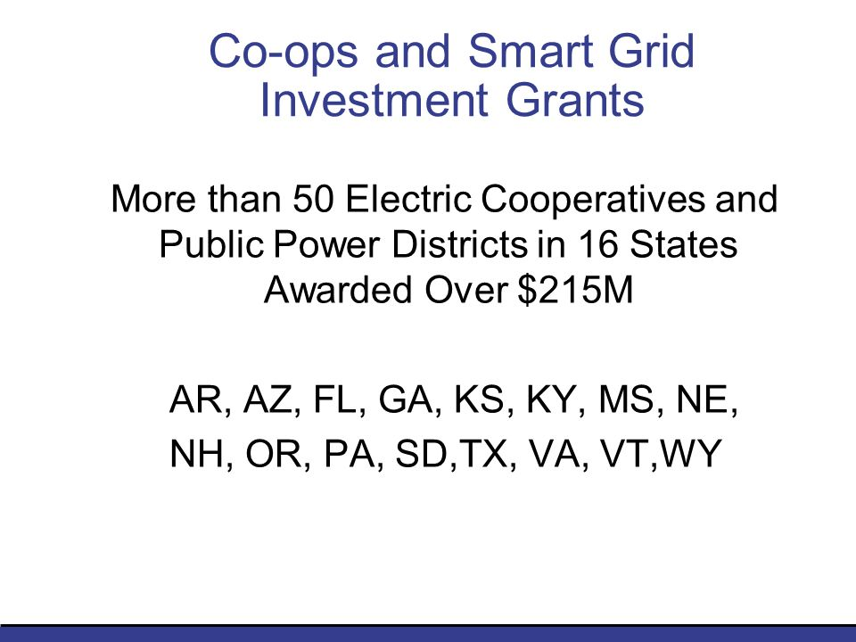 Co-ops and Smart Grid Investment Grants More than 50 Electric Cooperatives and Public Power Districts in 16 States Awarded Over $215M AR, AZ, FL, GA, KS, KY, MS, NE, NH, OR, PA, SD,TX, VA, VT,WY