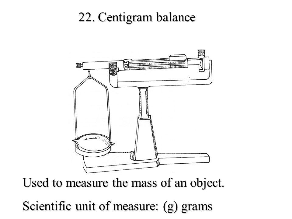 21. Thermometer Used to measure temperature Scientific unit of measure: (C) Celsius