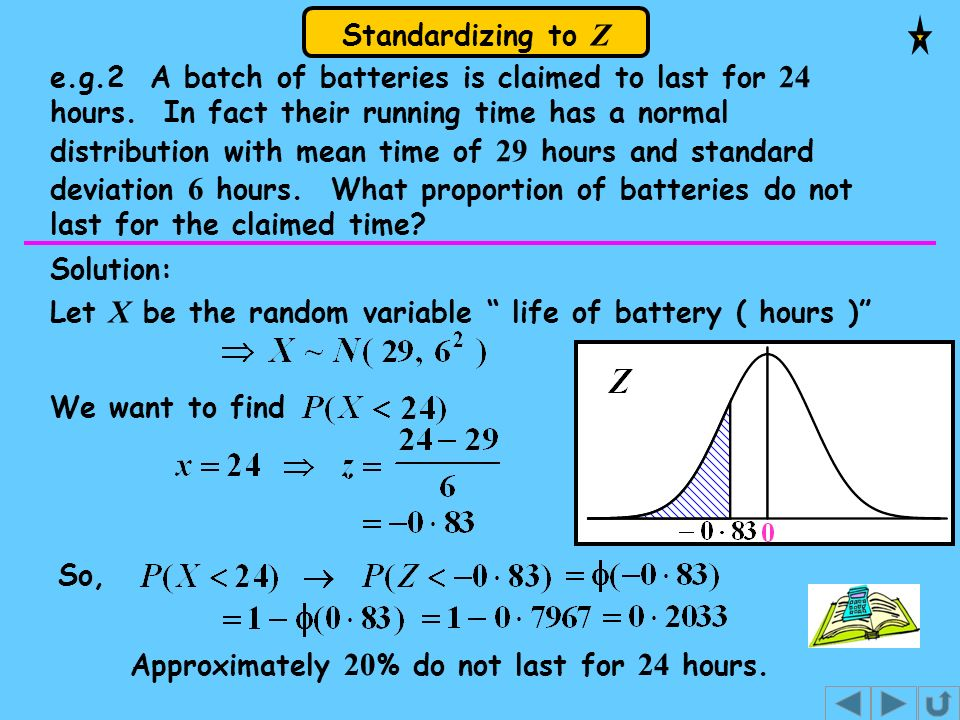 Standardizing to Z e.g.2 A batch of batteries is claimed to last for 24 hours. In fact their running time has a normal distribution with mean time of