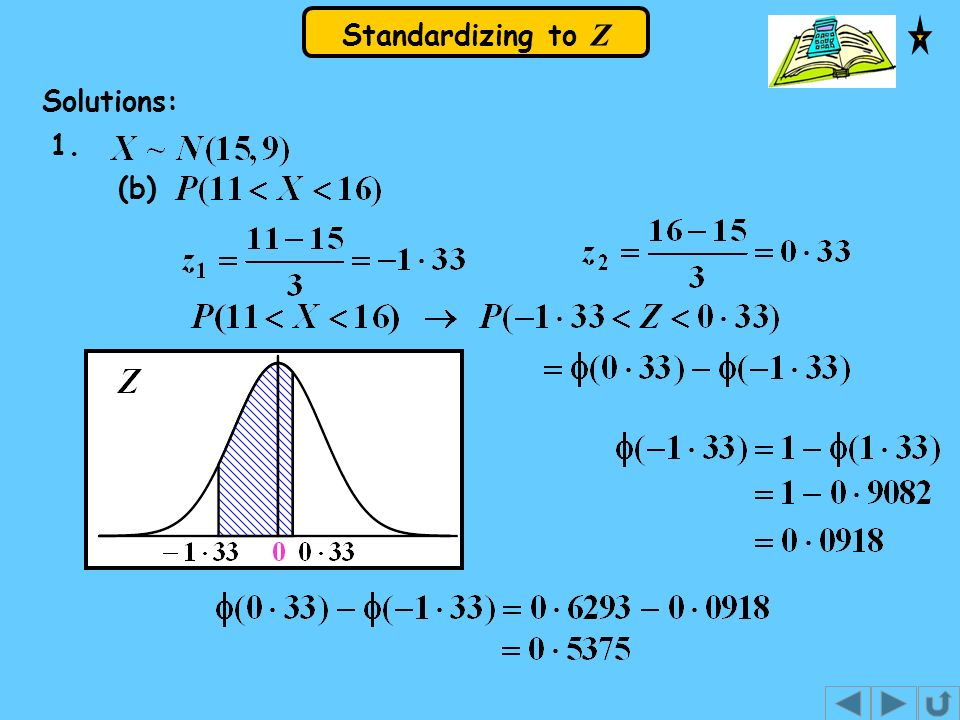 Standardizing to Z Solutions: 1. (b)