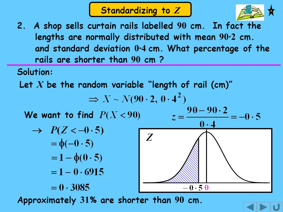 Standardizing to Z 2. A shop sells curtain rails labelled 90 cm. In fact the lengths are normally distributed with mean 90·2 cm. and standard deviatio