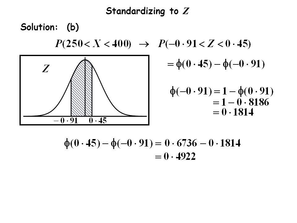 Standardizing to Z Solution: (b)