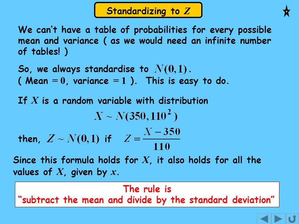 Standardizing to Z We cant have a table of probabilities for every possible mean and variance ( as we would need an infinite number of tables! ) So, w