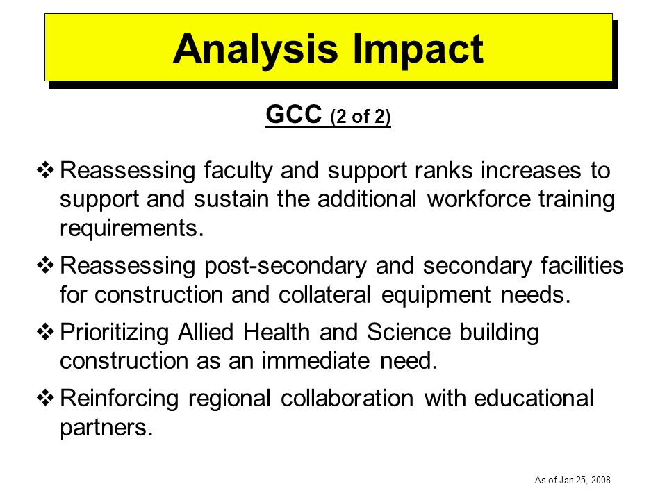 -----DRAFT----- As of Jan 25, 2008 Analysis Impact GCC (2 of 2) Reassessing faculty and support ranks increases to support and sustain the additional workforce training requirements.