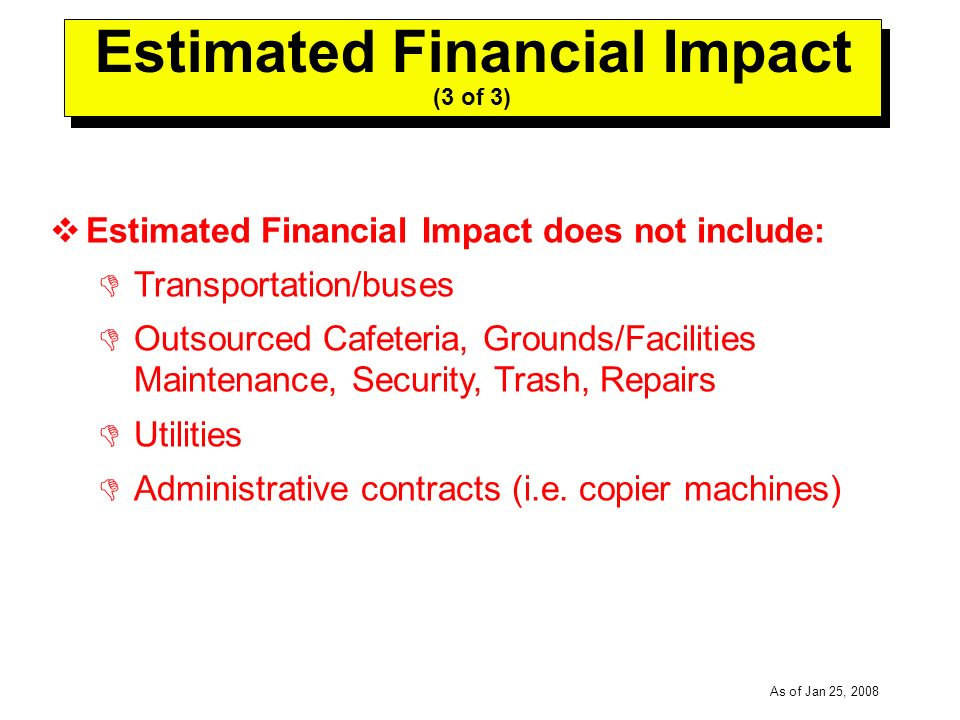-----DRAFT----- As of Jan 25, 2008 Estimated Financial Impact (3 of 3) Estimated Financial Impact does not include: Transportation/buses Outsourced Cafeteria, Grounds/Facilities Maintenance, Security, Trash, Repairs Utilities Administrative contracts (i.e.