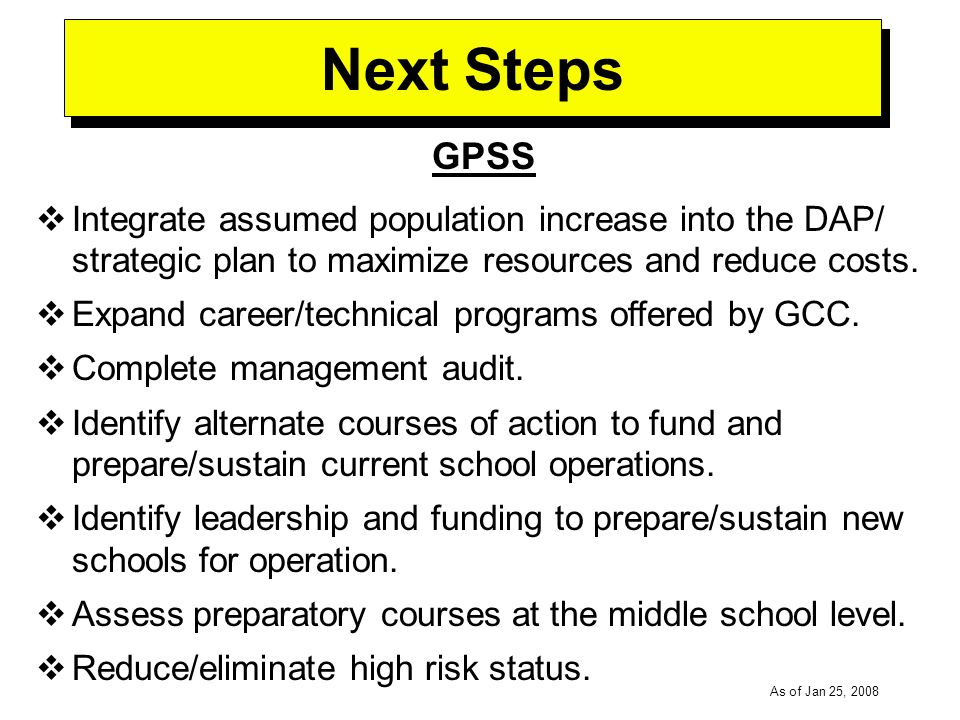 -----DRAFT----- As of Jan 25, 2008 Next Steps GPSS Integrate assumed population increase into the DAP/ strategic plan to maximize resources and reduce costs.