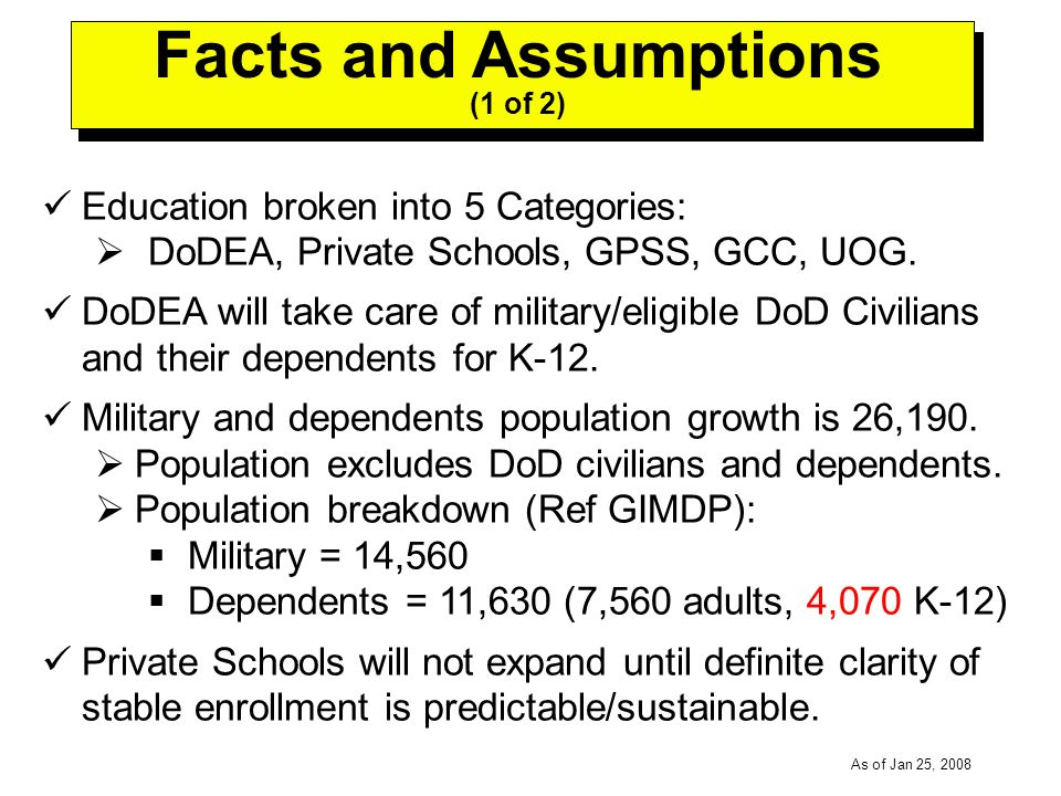 -----DRAFT----- As of Jan 25, 2008 Education broken into 5 Categories: DoDEA, Private Schools, GPSS, GCC, UOG.