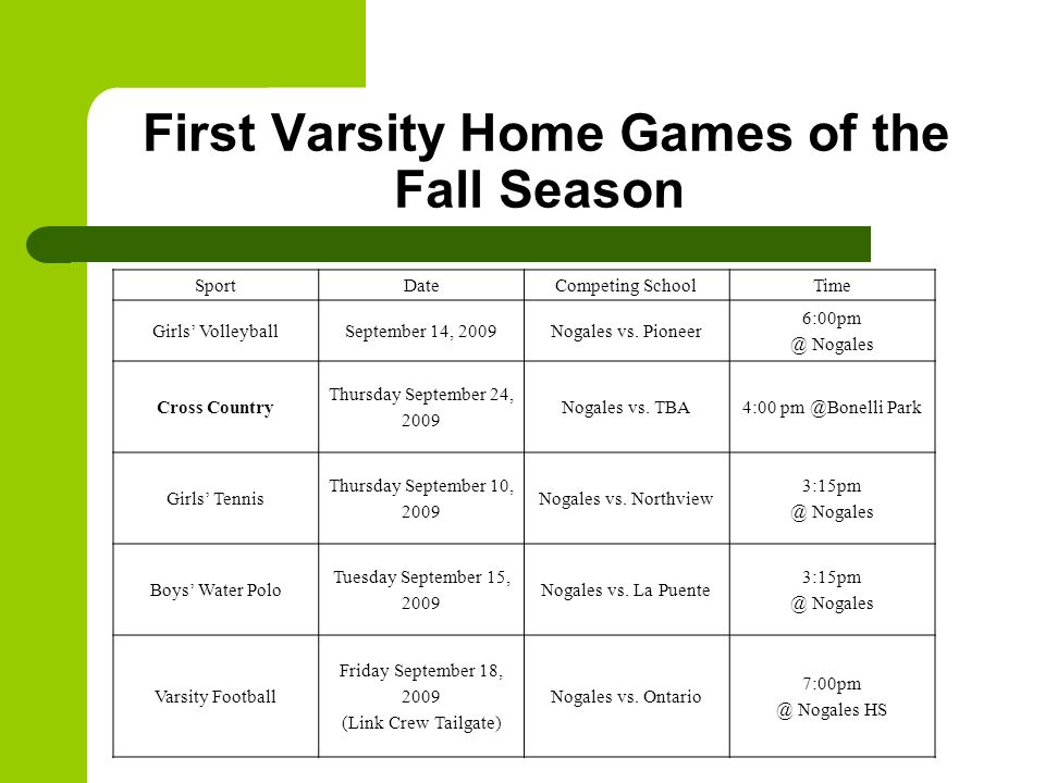 First Varsity Home Games of the Fall Season SportDateCompeting SchoolTime Girls VolleyballSeptember 14, 2009Nogales vs. Pioneer 6:00pm @ Nogales Cross