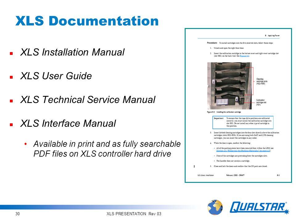 XLS PRESENTATION Rev 0330 XLS Documentation XLS Installation Manual XLS User Guide XLS Technical Service Manual XLS Interface Manual Available in prin