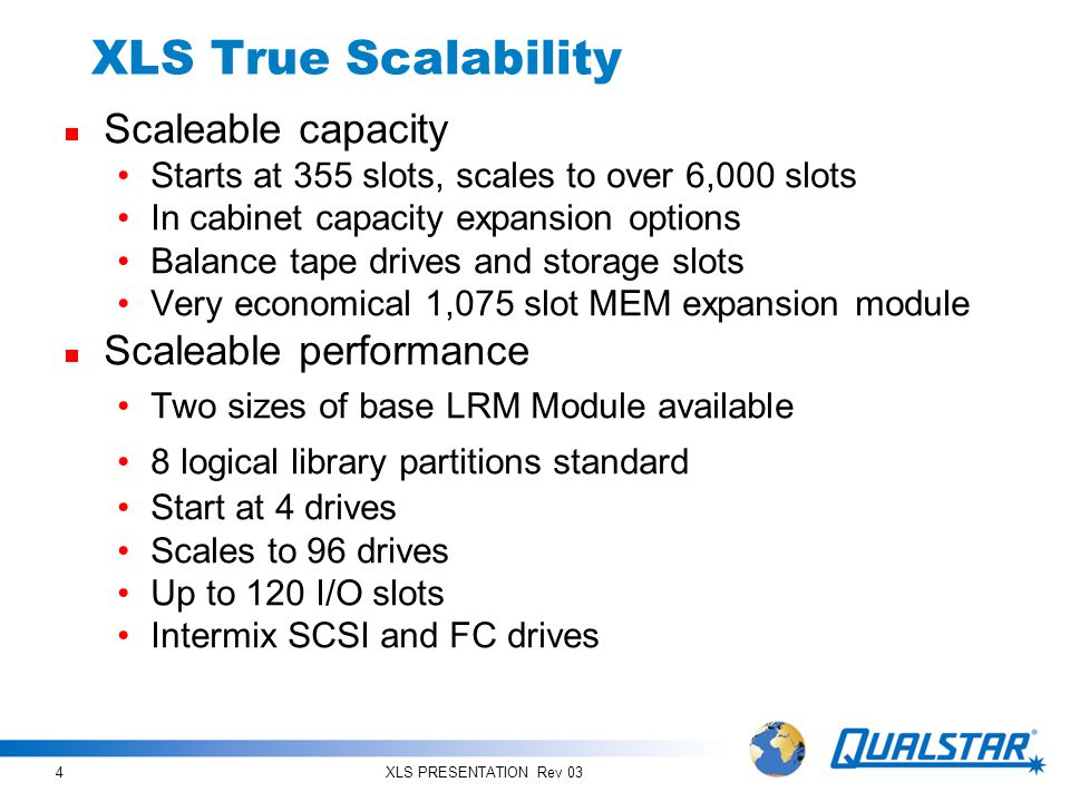 XLS PRESENTATION Rev 035 XLS Building Blocks Mix and Match to Create the Right Solution LRM (Library Resource Module)MEM (Media Expansion Module) Standalone library Contains drives, I/O ports, storage slots, robotics, control, and power Acts as nucleus of larger systems Rotating carousel holds 1,075 cartridges Consumes less than 9 sq.
