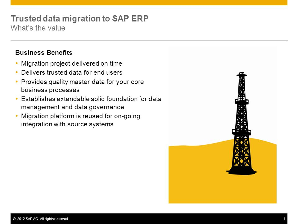 ©2012 SAP AG. All rights reserved.4 Migration project delivered on time Delivers trusted data for end users Provides quality master data for your core