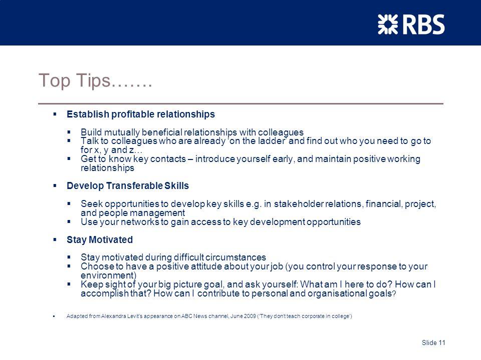 Slide 11 Top Tips…….