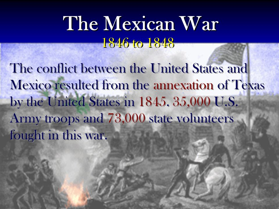 The conflict between the United States and Mexico resulted from the annexation of Texas by the United States in 1845.