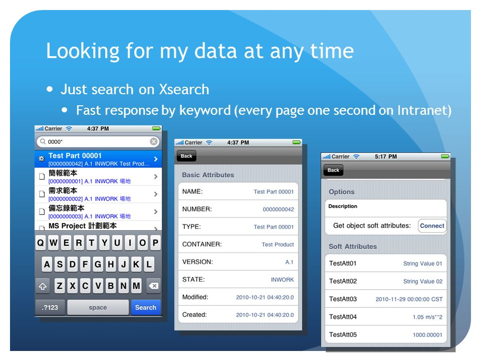 Looking for my data at any time Just search on Xsearch Fast response by keyword (every page one second on Intranet)