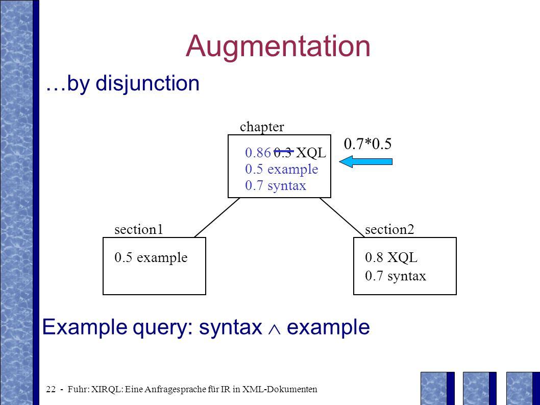 22 - Fuhr: XIRQL: Eine Anfragesprache für IR in XML-Dokumenten Augmentation …by disjunction Example query: syntax example 0.5 example0.8 XQL 0.7 synta