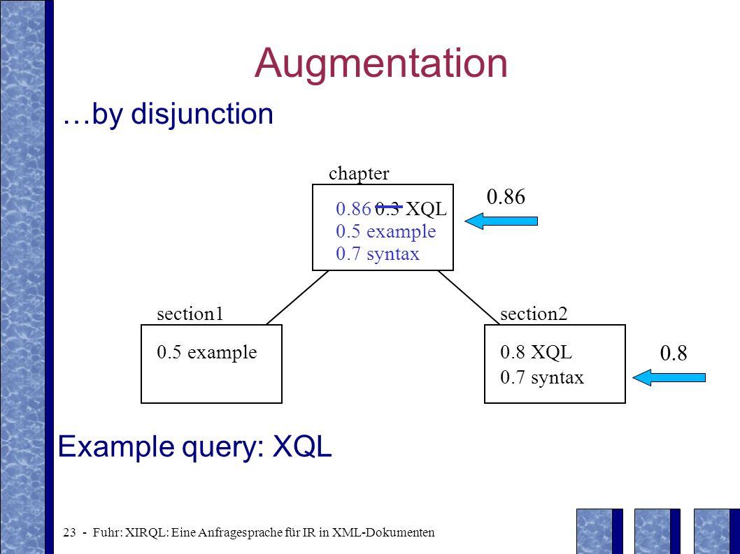 23 - Fuhr: XIRQL: Eine Anfragesprache für IR in XML-Dokumenten Augmentation …by disjunction 0.5 example0.8 XQL 0.7 syntax section1section2 0.3 XQL cha