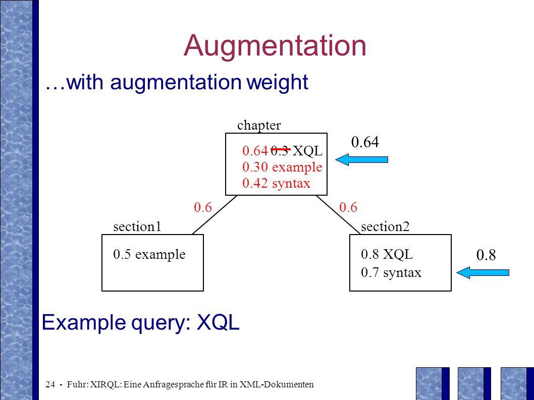 24 - Fuhr: XIRQL: Eine Anfragesprache für IR in XML-Dokumenten Augmentation …with augmentation weight 0.5 example0.8 XQL 0.7 syntax section1section2 0