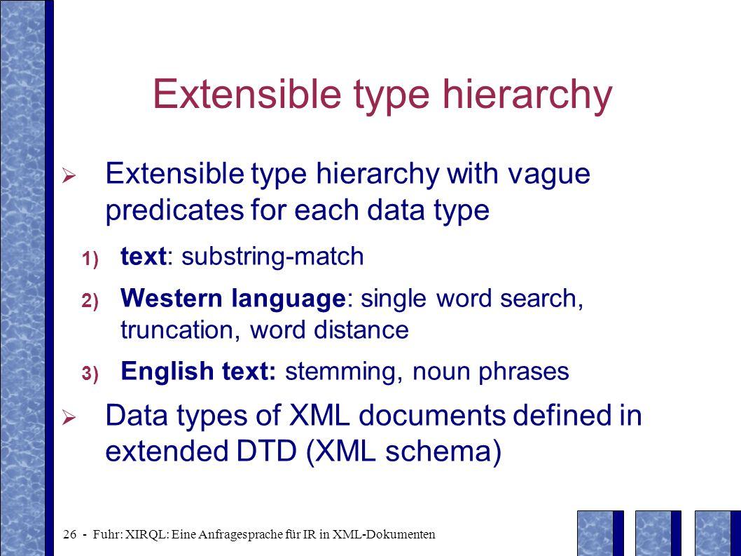 26 - Fuhr: XIRQL: Eine Anfragesprache für IR in XML-Dokumenten Extensible type hierarchy Extensible type hierarchy with vague predicates for each data