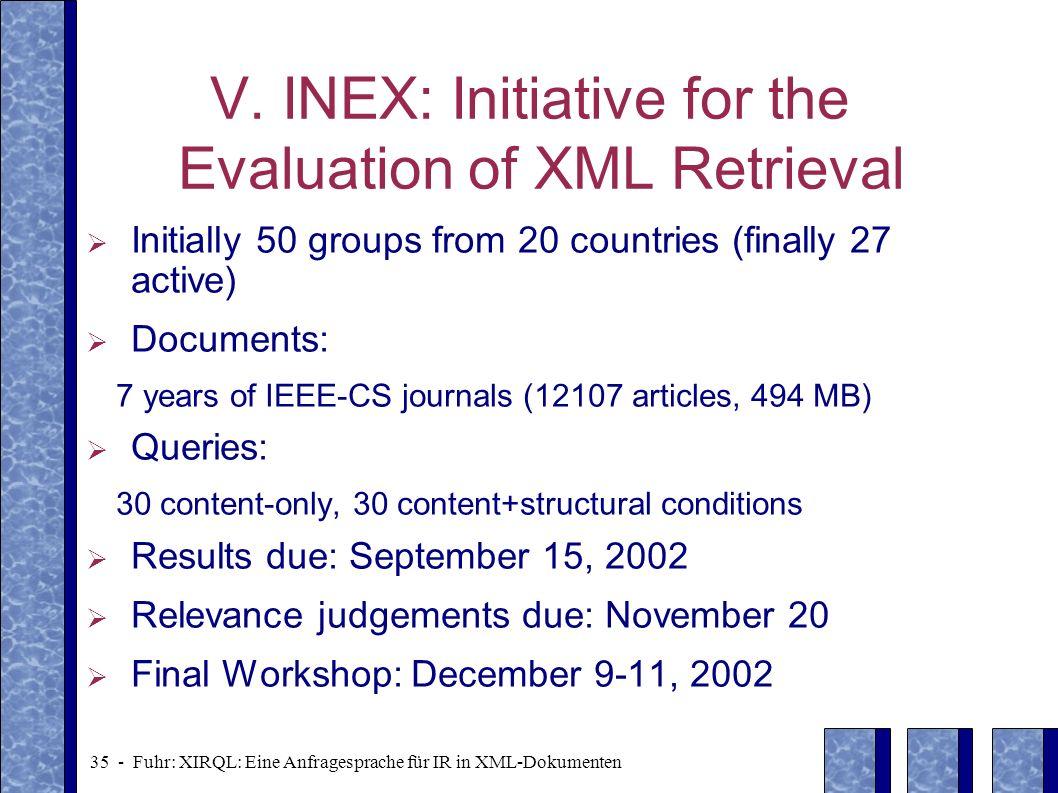 35 - Fuhr: XIRQL: Eine Anfragesprache für IR in XML-Dokumenten V. INEX: Initiative for the Evaluation of XML Retrieval Initially 50 groups from 20 cou