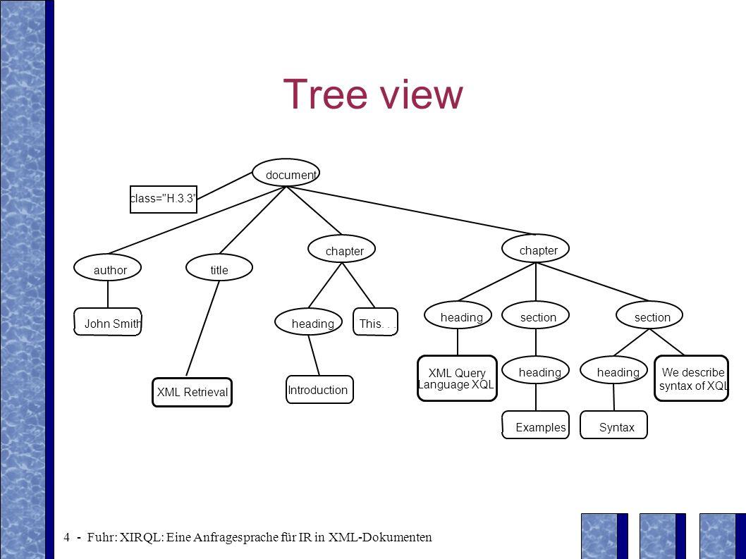 4 - Fuhr: XIRQL: Eine Anfragesprache für IR in XML-Dokumenten Tree view document class=