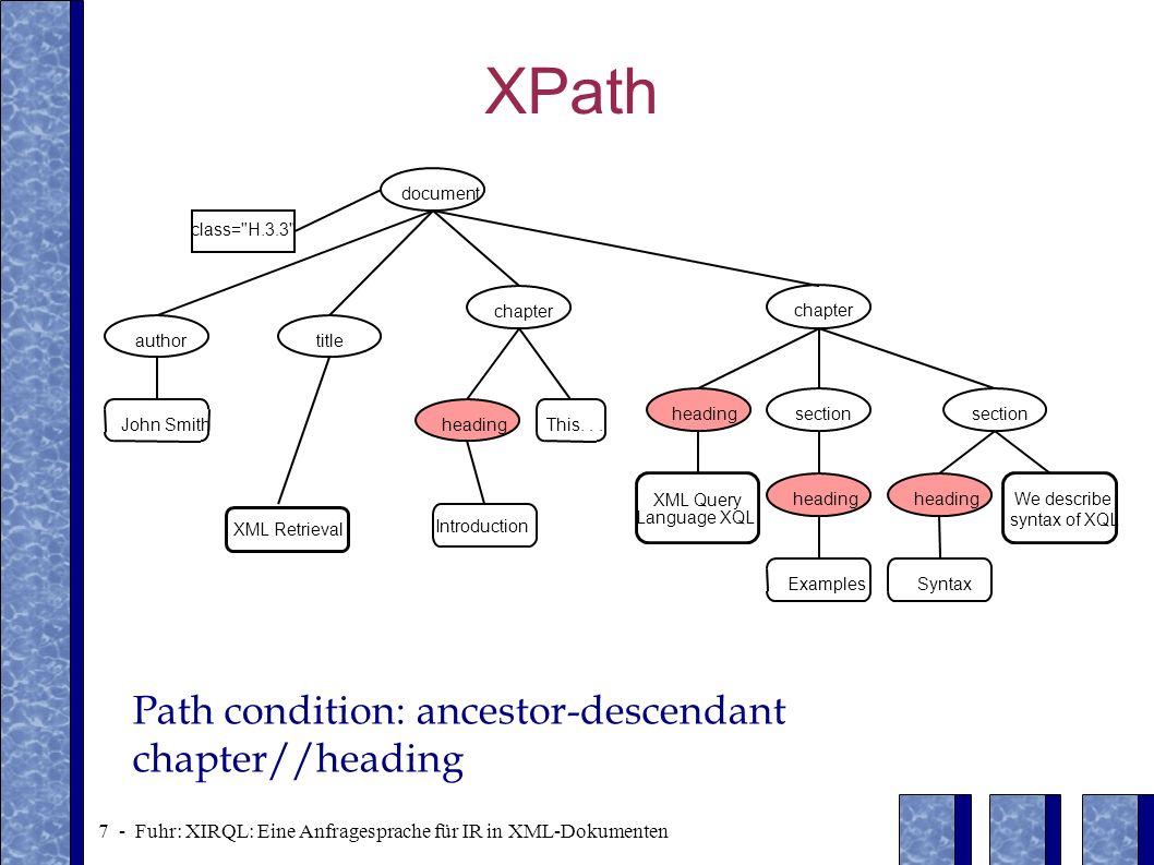 18 - Fuhr: XIRQL: Eine Anfragesprache für IR in XML-Dokumenten Event expressions /document/chapter [.//* XQL .//* syntax ] ([3,XQL] [5,XQL]) [5,syntax] 1 2 3 45 document class= H.3.3 author John Smith title XML Retrieval Introduction chapter headingThis...