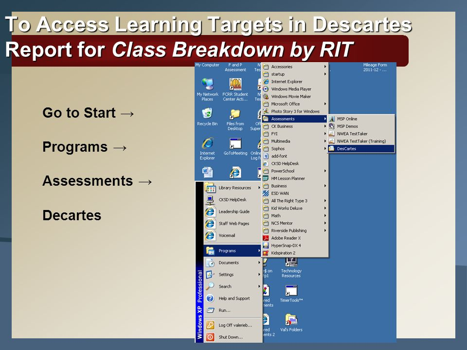 To Access Learning Targets in Descartes Report for Class Breakdown by RIT Go to Start Programs Assessments Decartes