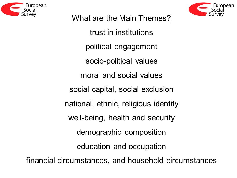What are the Main Themes? trust in institutions political engagement socio-political values moral and social values social capital, social exclusion n