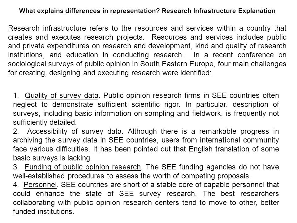 What explains differences in representation? Research Infrastructure Explanation Research infrastructure refers to the resources and services within a