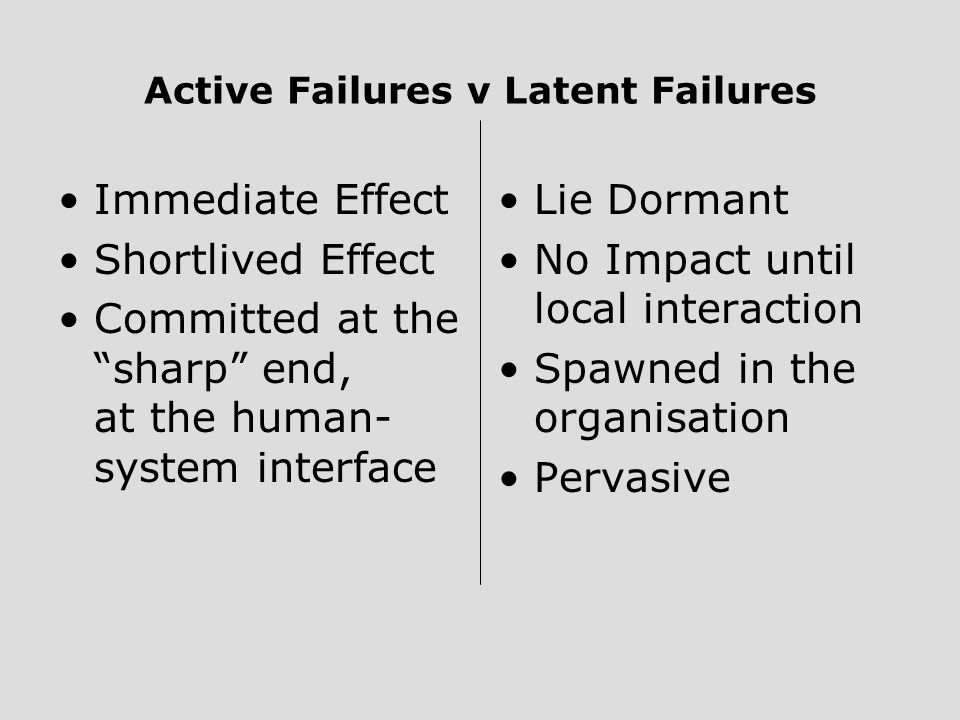 Active Failures v Latent Failures Immediate Effect Shortlived Effect Committed at the sharp end, at the human- system interface Lie Dormant No Impact