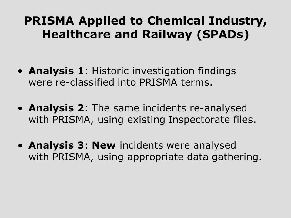 PRISMA Applied to Chemical Industry, Healthcare and Railway (SPADs) Analysis 1: Historic investigation findings were re-classified into PRISMA terms.