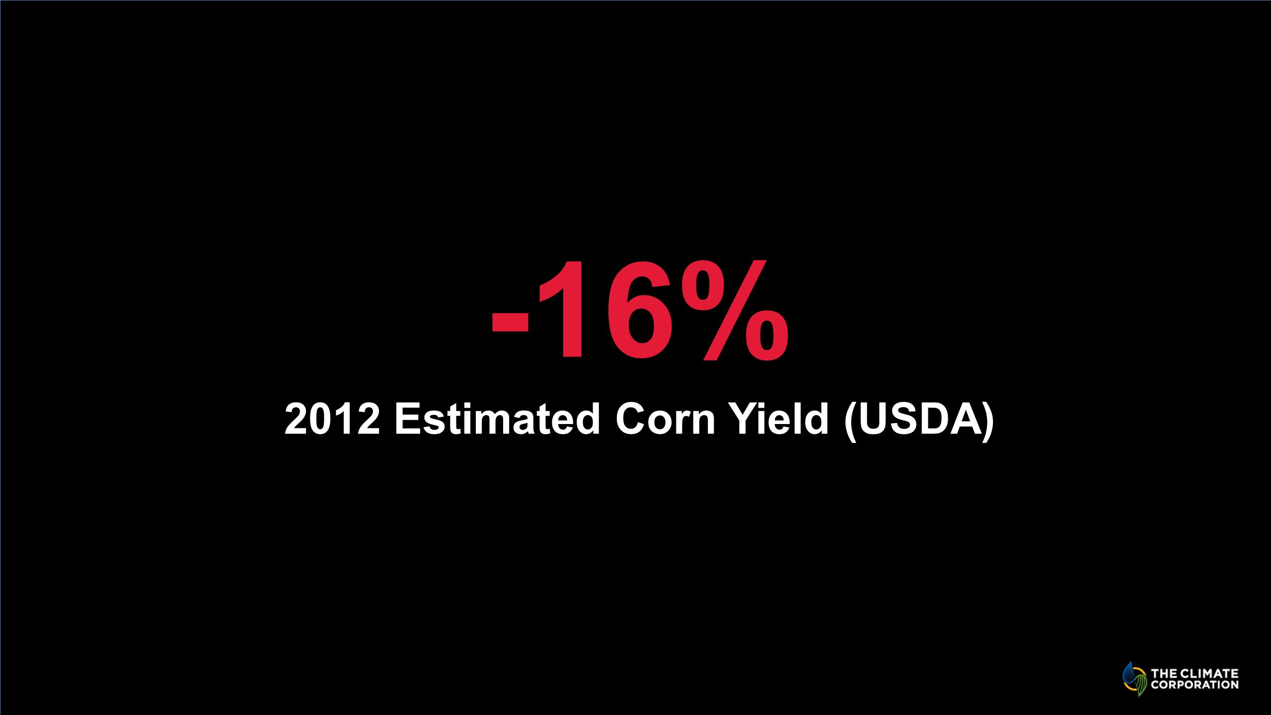 Click to edit Master title style -16% 2012 Estimated Corn Yield (USDA)