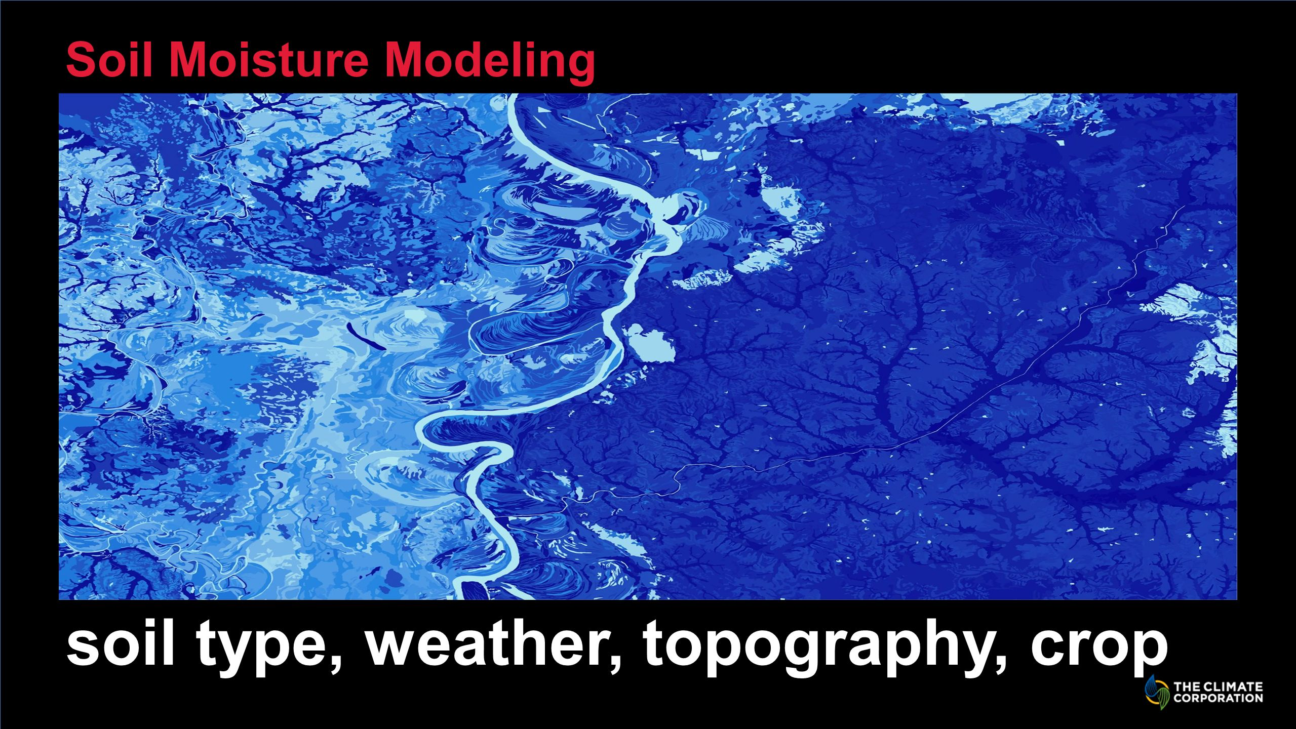 Soil Moisture Modeling soil type, weather, topography, crop