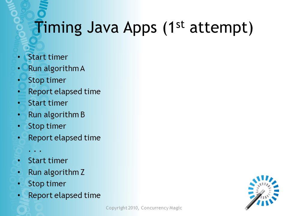 Timing Java Apps (1 st attempt) Start timer Run algorithm A Stop timer Report elapsed time Start timer Run algorithm B Stop timer Report elapsed time.