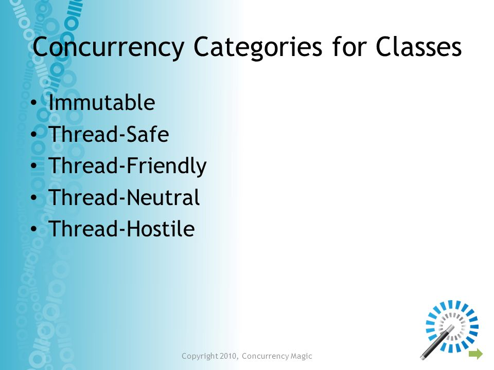 Concurrency Categories for Classes Immutable Thread-Safe Thread-Friendly Thread-Neutral Thread-Hostile Copyright 2010, Concurrency Magic