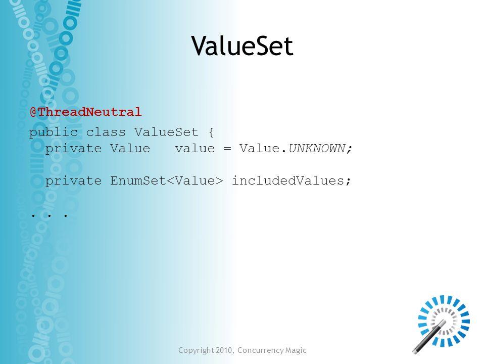 Copyright 2010, Concurrency Magic ValueSet public class ValueSet { private Value value = Value.UNKNOWN; private EnumSet includedValues;... @ThreadNeut