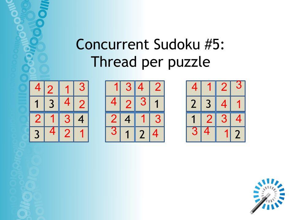 Concurrent Sudoku #5: Thread per puzzle 3 4 13 4 1 1 2 1 2 23 3 4 2 3 4 4 1 2 2 4 1 32 2 2 3 1 1 1 4 4 4 4 3 4 3 1 2 1 4 33 3 1 2 2