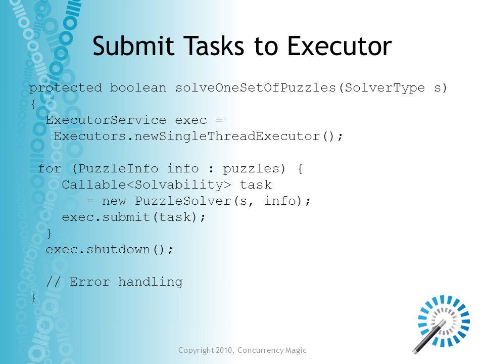 Submit Tasks to Executor protected boolean solveOneSetOfPuzzles(SolverType s) { ExecutorService exec = Executors.newSingleThreadExecutor(); for (Puzzl