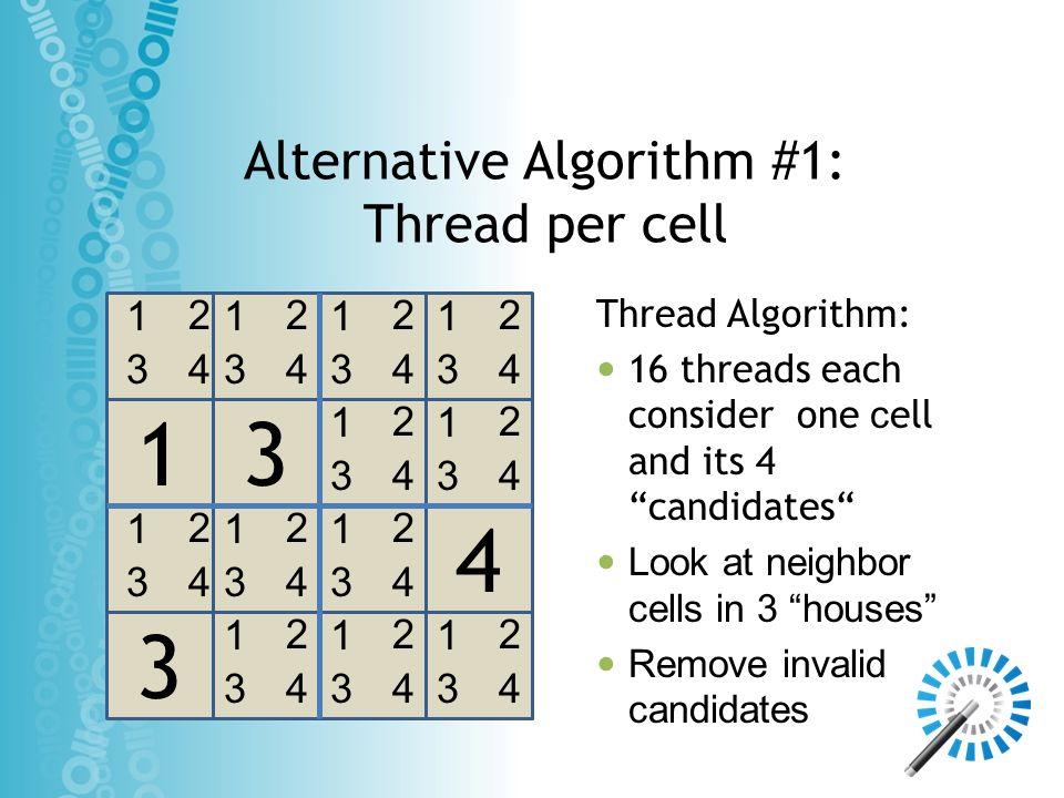 Alternative Algorithm #1: Thread per cell 3 4 13 1 3 2 4 1 3 2 4 1 3 2 4 1 3 2 4 1 3 2 4 1 3 2 4 1 3 2 4 1 3 2 4 1 3 2 4 1 3 2 4 1 3 2 4 1 3 2 4 Threa