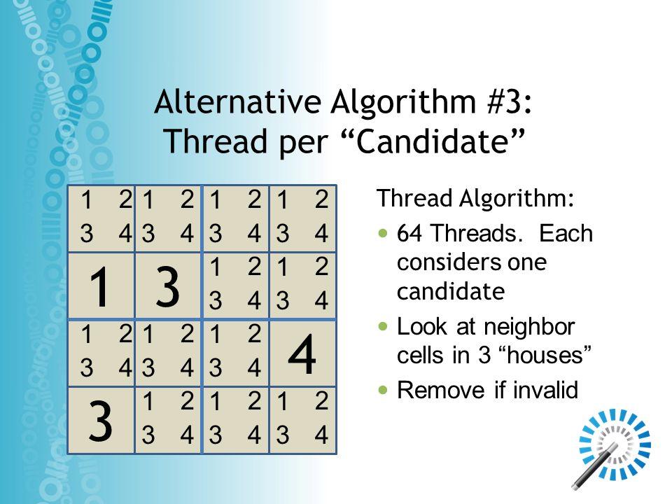 Alternative Algorithm #3: Thread per Candidate 3 4 13 1 3 2 4 1 3 2 4 1 3 2 4 1 3 2 4 1 3 2 4 1 3 2 4 1 3 2 4 1 3 2 4 1 3 2 4 1 3 2 4 1 3 2 4 1 3 2 4