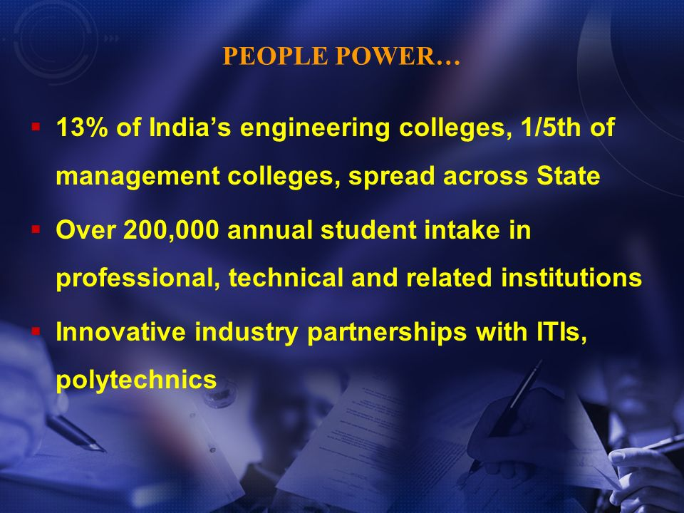 PEOPLE POWER… 13% of Indias engineering colleges, 1/5th of management colleges, spread across State Over 200,000 annual student intake in professional