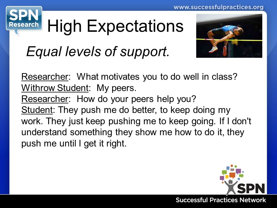 High Expectations Equal levels of support. Researcher: What motivates you to do well in class.