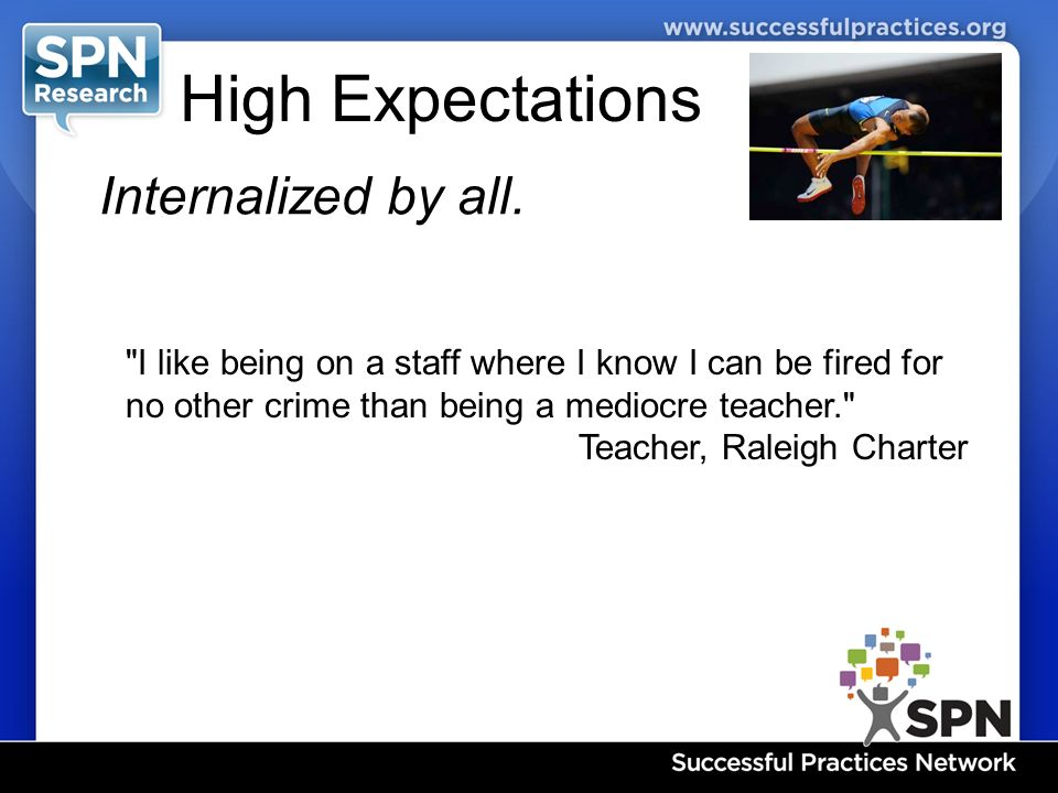 High Expectations Internalized by all.