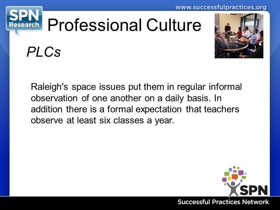 Professional Culture PLCs Raleigh s space issues put them in regular informal observation of one another on a daily basis.