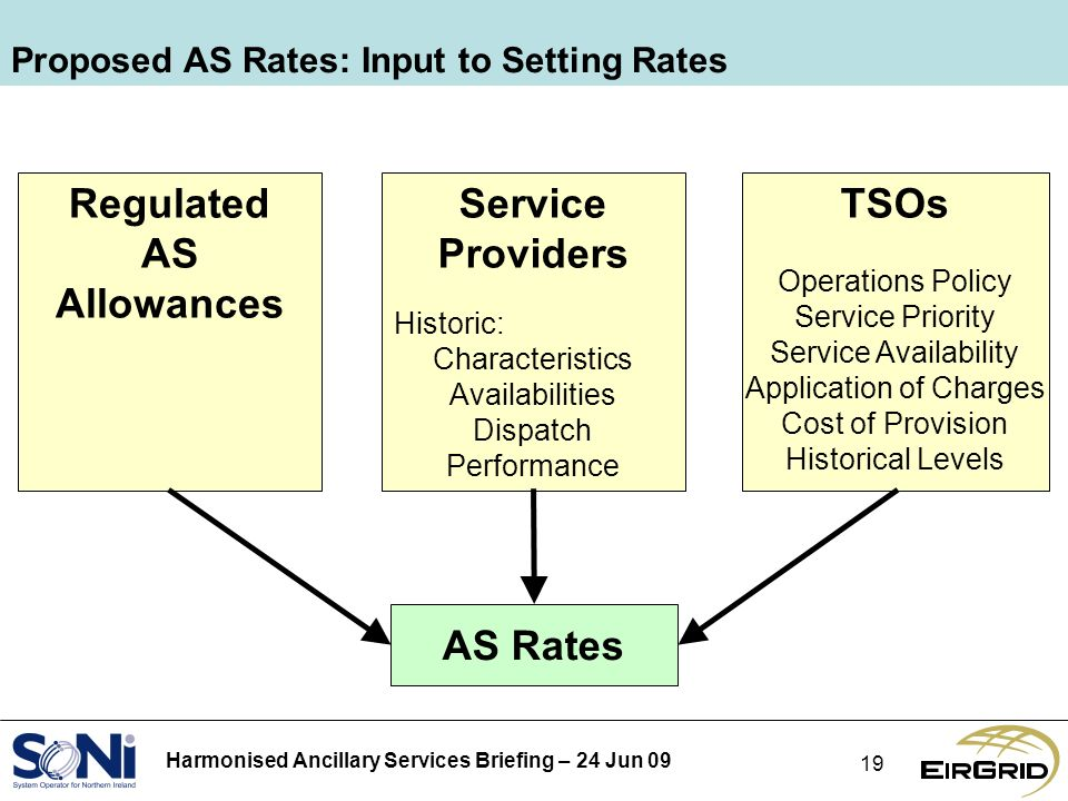 Harmonised Ancillary Services Briefing – 24 Jun 09 19 Proposed AS Rates: Input to Setting Rates Regulated AS Allowances Service Providers Historic: Characteristics Availabilities Dispatch Performance TSOs Operations Policy Service Priority Service Availability Application of Charges Cost of Provision Historical Levels AS Rates