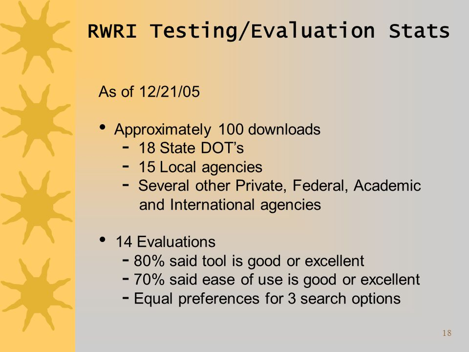 18 RWRI Testing/Evaluation Stats As of 12/21/05 Approximately 100 downloads 18 State DOTs 15 Local agencies Several other Private, Federal, Academic and International agencies 14 Evaluations 80% said tool is good or excellent 70% said ease of use is good or excellent Equal preferences for 3 search options