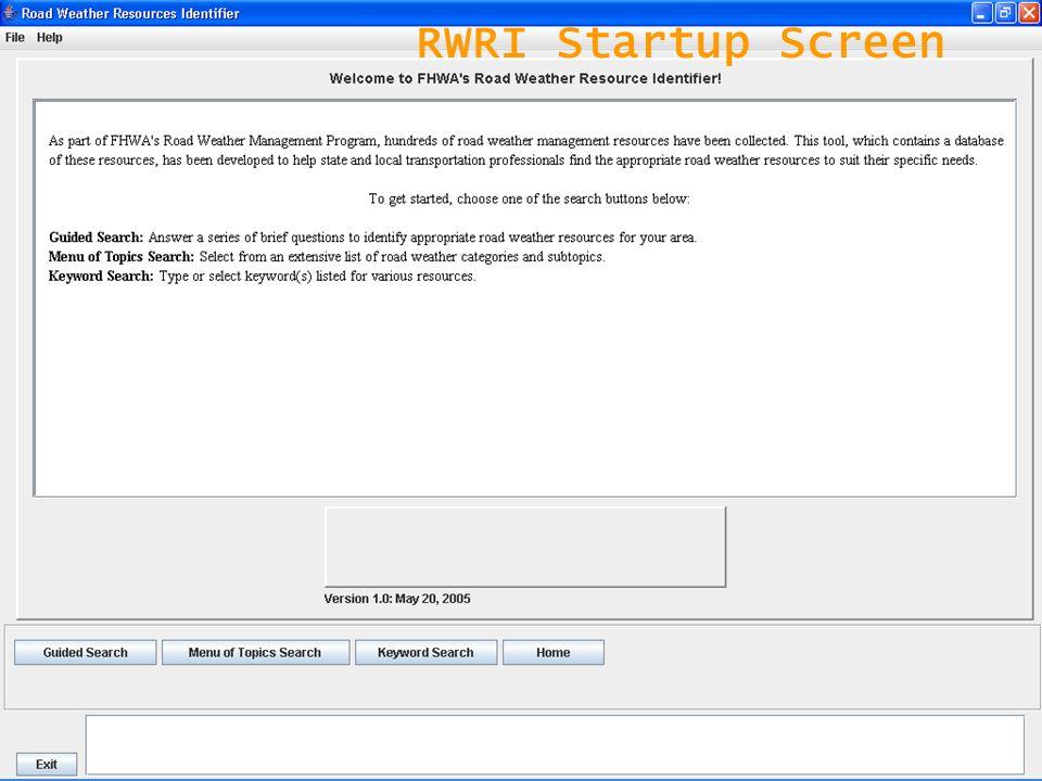 8 RWRI Startup Screen