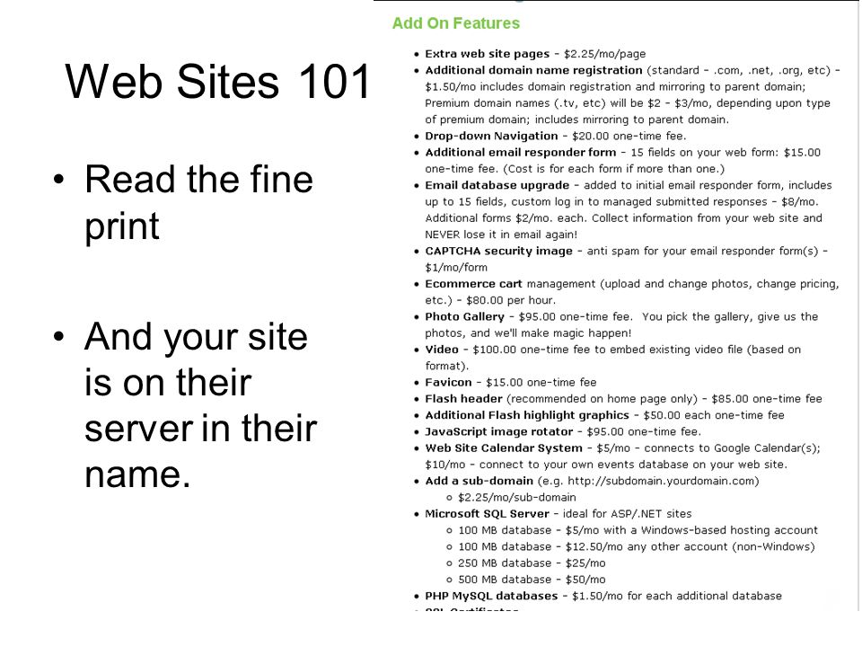 Web Sites 101 Read the fine print And your site is on their server in their name.